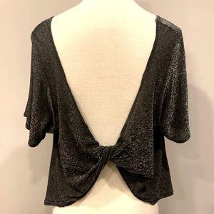 Top w/Sexy Knotted Back Black Metallic